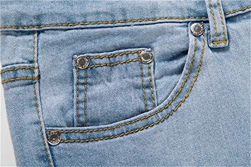 Jeans Con Moda Cerniera Hellblau Alla Chiusura Moderna Strappati Casual Denim Elasticizzati Vintage 7qrE7U