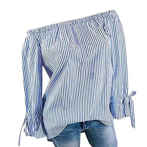 Women Plus Size Off Shoulder Top Stripe Printed Sexy Shirts Long Sleeve (Tie Neck Peasant Top)