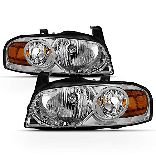 ACANII - For 2004 2005 2006 Nissan Sentra Headlights [OE Style] Chrome Headlamps Replacement Driver + Passenger Side