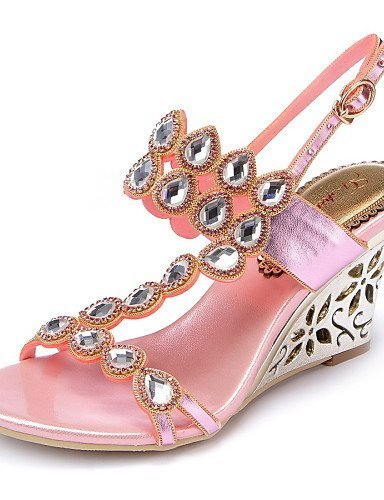 ShangYi Womens Shoes Leather Wedge Heel Heels Sandals Party & Evening / Dress / Casual Pink / Purple / Gold Pink