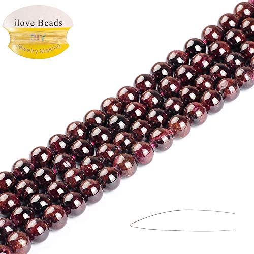 (2/3/4/6/8/10/12MM Deep Natural Garnet Gemstone Beads Round Smooth Loose Strand Beads for Jewelry Making 15.5