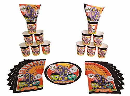 Halloween Decorations Monster Mash Party Tableware : Dracula , Frankenstein , Skeleton , and Casper -