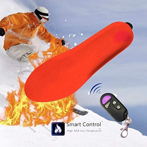 Plantillas calefactables el/éctricas recargables con control remoto inteligente para calentar plantillas de pie calentador de corte a ajuste para mujeres hombres invierno caza pesca 35-40