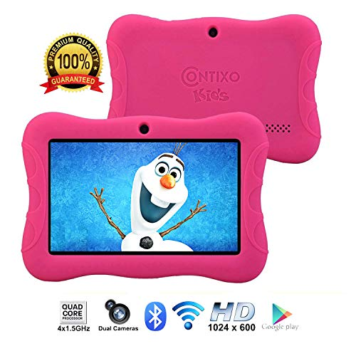 [Upgraded] Contixo K3 HD 7' Kids Tablet with Durable Protection Case, Pre-Installed Games Android 6.0 Bluetooth WiFi Dual Cameras Parental Control for Children Pink