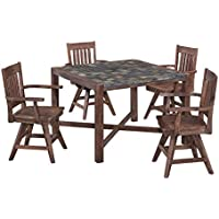 Home Styles 5601-375 Morocco Dining Set with Square Table and Four Swivel Chairs (5 Piece)