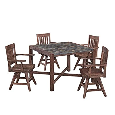 Morocco Dining Set with Square Table and Four Swivel Chairs by Home Styles - Constructed of Acacia wood solids and Hand laid Slate tiles providing a mosaic appearance The swivel chair features a slat back with a shaped seat as well as the uniqueness of a wooden swivel chair This dining table and chairs are suited for both indoor and outdoor use - kitchen-dining-room-furniture, kitchen-dining-room, dining-sets - 51WMR7ErJfL. SS400  -