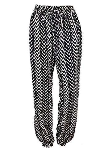 G2 Chic Womens Printed Harem Pant with Side Pockets(BTM-PNT2BKWHA4-M)