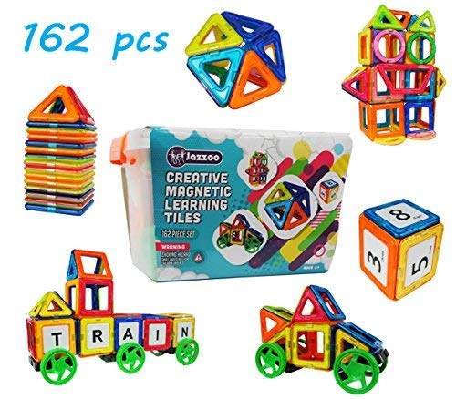 Educational Magnetic Building Blocks, Magnetic Tiles for Kids - 162 piece set