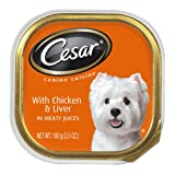 Cesar Canine Cuisine with Chicken and Liver in Meaty Juices for Small Dogs, 3.5-Ounce Trays (Pack of 24), My Pet Supplies