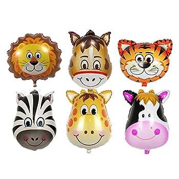 GOGO Set of 6 Zoo Animal Head Foil Balloons, Party Favor