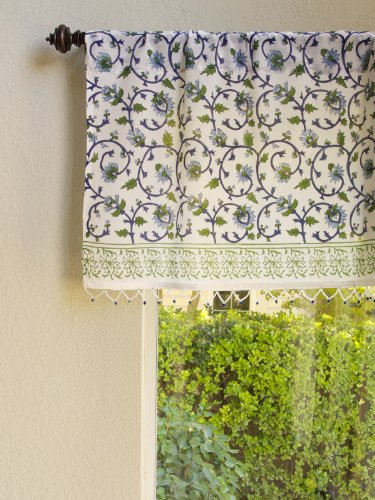 Saffron Marigold Moonlit Taj ~ Exotic Turquoise Beaded Window Valance 46x17