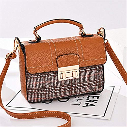 Brown Borsa Brown Plaid Dimensione tracolla Borsa a Moontang a Colore Plaid Messenger tracolla 6qx8UdwO