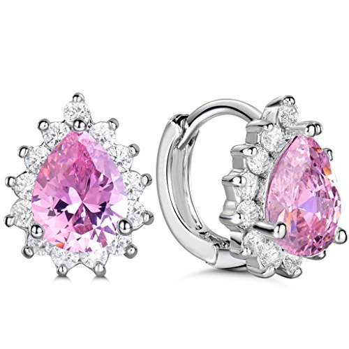 GULICX Silver Plated Base Created Pink Sapphire Cubic Zirconia CZ Crystal Leverback Earrings Girls (Created Diamond Earings)