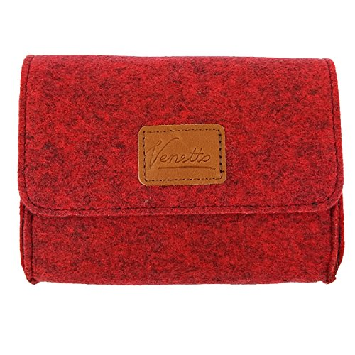 Pouch mini Pocket culture bag made of felt for accessories, organizer (power supply, PC mouse, e-cigarette, cosmetics, culture bag, makeup ) (red melange) by Venetto