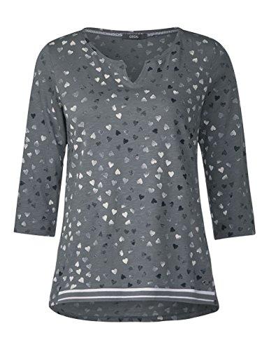 Grey Grigio Light Maglietta Donna Cecil Maniche a Graphit Lunghe 30498 qRvwv8TXW