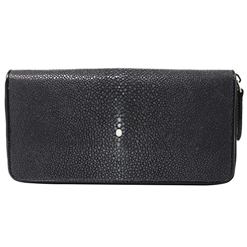 Genuine Polished Stingray Leather Black Clutch Women Zip Around Coin Wallet Purse by Kanthima
