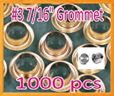 1000 #3 0.43'' Grommet and Washer Brass / Gold w/ Die Set Eyelet Grommets Machine Sign Punch Tool