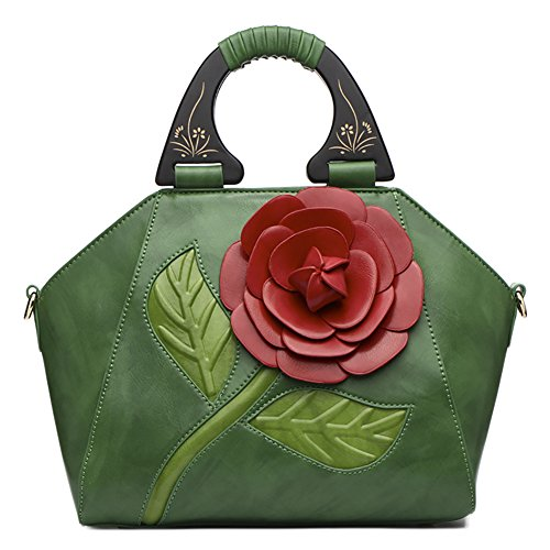 QZUnique in manici pelle in Borse con a rosa tracolla pelle Green retrò 3 PU fiore qRnCHUa