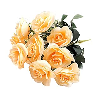 Erovy New Fashion 12Head Artificial Fake Roses Silk Flower Wedding Home Party Bridal Bouquet Decor [Champagne] 99