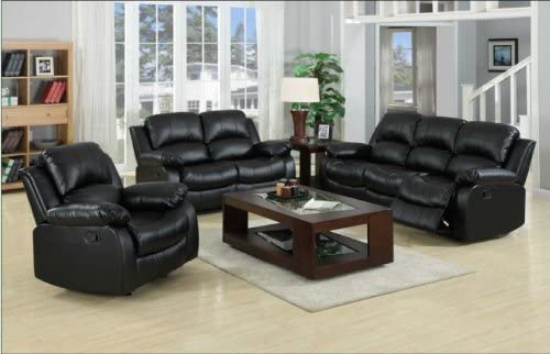 Yuan Tai Kaden Black Bonded Leather Sofa