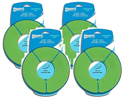 (4 Pack) Chuckit Zipflight Amphibious Dog Fly Ring Toy, Medium