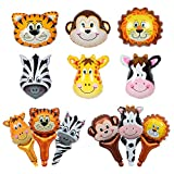 36PCS Cute Large Zoo Animal Balloons for Animal Theme Party Kids Baby Shower Gifts Birthday Party Decor with Tiger Cow Zebra Monkey Lion Giraffe