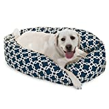 40 Inch Navy Links Sherpa Bagel Dog Bed For Sale
