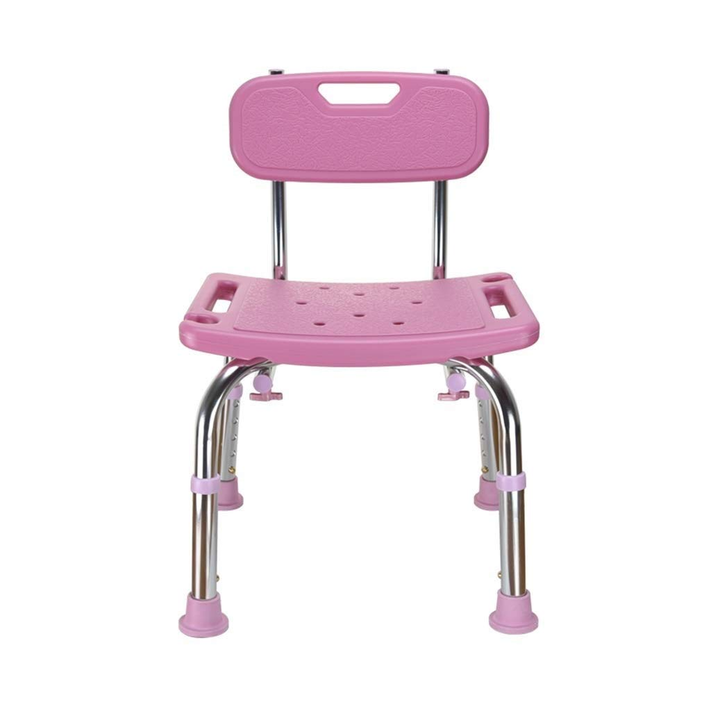 Beauty Aluminum Alloy Shower Stool,Anti-Slip Bath Chair for Pregnant Women/The Elderly,5 Height Ajustable Seat with Backrest