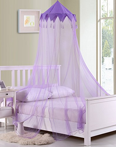 Fantasy Kids Harlequin Collapsible Hoop Sheer Bed Canopy, One Size, Purple