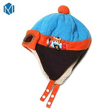Baby Pilot Aviator Hat Winter Cotton Warm Ear Cap Beanie Patchwork Toddler Cloth