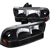 Chevy S10 Blazer PickUp Crystal Black Headlights+Clear Corner Signal Lamps