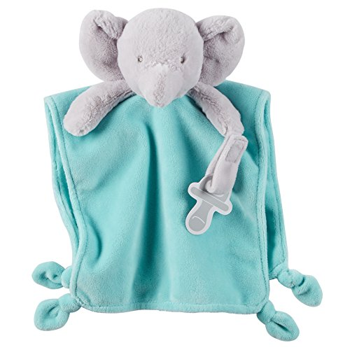 Carter's Cuddle Plush with Pacifier Loop Elephant, Blue