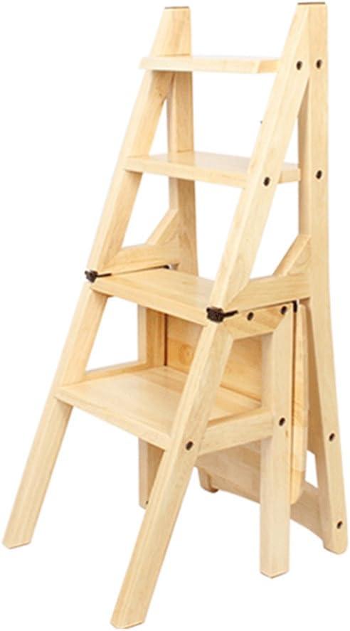 Silla plegable para escaleras de madera maciza Taburete de escalera de madera maciza de 4 pasos, Estante de uso múltiple con múltiples funciones de estante de flores Silla de escalera alta, 4
