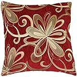 """Chenille Chateau Vintage Floral Design 18"""" X 18"""" Decorative Throw Pillow, Color Burgundy"""