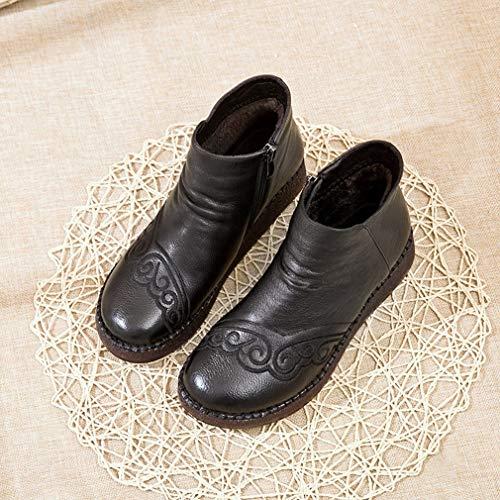 Madre Para Con Mocasines ons Caminar Algodón Botas Cuero Slip Invierno Yan Zapatos Un Cremallera De Pisos Y Mujer qW4RX