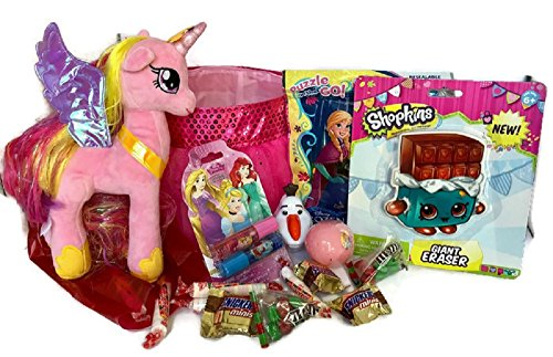Unicorn Easter Basket Gift set for toddler girls ~ My Little Pony Princess Cadence Figure Plush in Pink Basket with puzzle, Shopkins Giant Eraser,Chocolates candy & lip Balm with Frozen & Princess egg