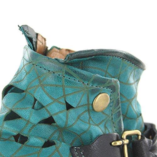 Fb Moda Gli Stivali In Pelle As98 259.225 Mitro Scarponcino Per Le Donne Stivali Verdi Urbane Mirto Nero