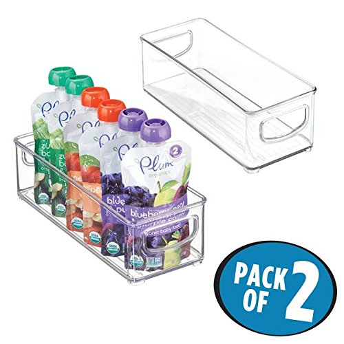 Fruit Storage Jar (mDesign Baby Food Kitchen Refrigerator Cabinet or Pantry Storage Organizer Bin with Handles for Pouches, Jars, Bottles, Formula, Juice Boxes – BPA Free, 10