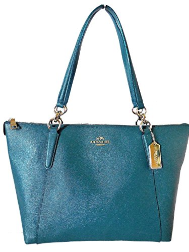 Coach AVA Leather Shopper Tote Bag Handbag (Dark Teal)