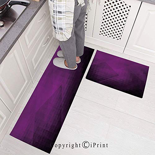 Non-slip Rubber Backing Carpet Kitchen Mat,Abstract Purple Squares in Faded Color Scheme with Modern Art Inspired Style Pixelart Decorative Doormat Runner Bathroom Rug 2 Piece Sets,15.7