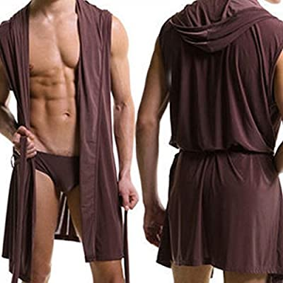 TESOON Mens Summer Sexy Silky Sleeveless Short Bathrobes with Hooded