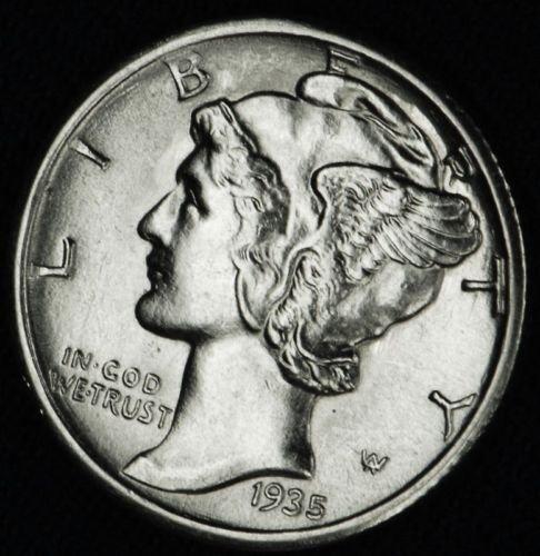 1935 90% Silver Mercury Dime GEM BU .10c Dime Choice Brilliant Uncirculated ()