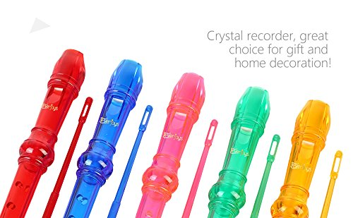 Large Product Image of Soprano Descant Recorder 8 Hole-3 Piece Kids Crystal Music Flute w/Cleaning Rod Bag Instruction Blue