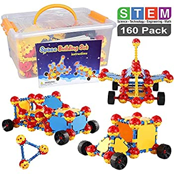 POKONBOY STEM Learning Toys Educational Building Toys,160 PCS Kids Learning Toys Creative Engineering Construction Building Blocks Set for Boys and Girls Age 3 4 5 6 7 8 Year Old Christmas Birthday