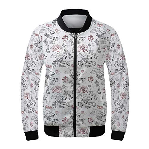 (Ethnic Women's Windproof Jacket,Great Wall of China Folk Motif with Authentic Dragons and Local Men Culture Print for Outdoor Hiking,XXL)