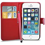 Apple iPhone 5/5S Leather Wallet Flip Case Cover Pouch & Touch Stylus Pen + Screen Guard & Cleaning Cloth - Red
