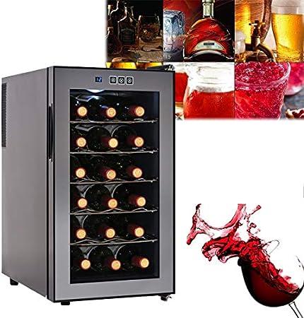 EnweGey Botellero Frigorifico, Vinoteca Control de Temperatura Electrónico con Iluminación LED, Panel de Control Táctil, Vinoteca 18 Botellas para Vinos