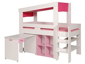 Lit combiné bureau blanc et rose charlotte: amazon.fr: cuisine & maison