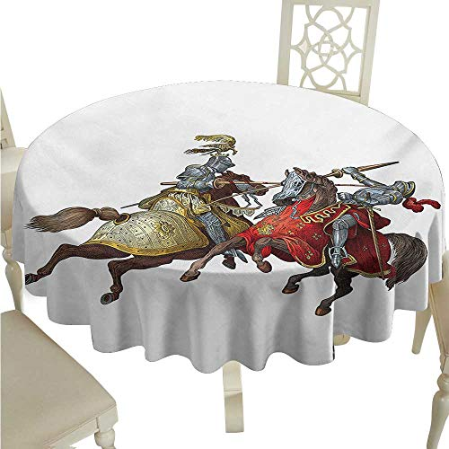 longbuyer Round Tablecloth Black Medieval,Middle Age Fighters Knights with Ancient Costume Renaissance Period Illustration,Multicolor D50,for Party