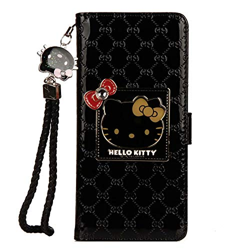 iPhone 7 Plus/iPhone 8 Plus Hello Kitty Wallet Case,Bling Mirror Bowknot PU Leather Purse Card Slot Pouch Flip Cover Kickstand Case for Girl Woman Lady (Black, iPhone 7 Plus/iPhone 8 - Kitty Bling Hello Case